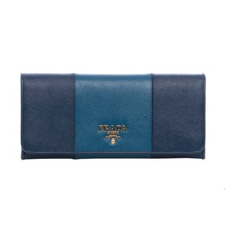 Prada Cobalt Blue/ Cornflower Blue Bicolor Flap Wallet