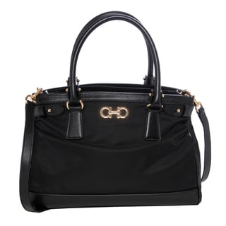 Salvatore Ferragamo 'Batik' Black Nylon Satchel Bag