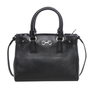 Salvatore Ferragamo Small 'Double Gancio' Black Leather Tote