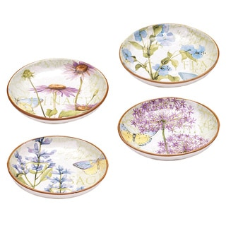 Hand-painted Herb Garden 8.5-inch Assorted Ceramic Soup/Pasta Bowls (Set of 4)