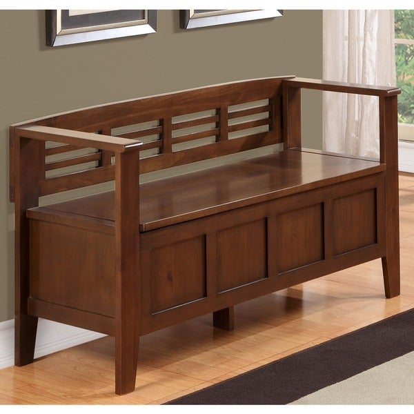 Overstock Foyer Furniture : Chandler rustic brown entryway storage bench overstock