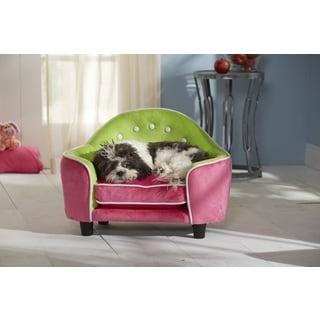 Ultra Plush Pink / Green Headboard Furniture Pet Bed