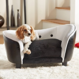 Ultra Plush Black / White Furniture Pet Bed