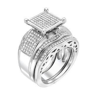 Sterling Silver 7/8ct TDW Diamond Bridal Ring Set (G-H, I1-I2)