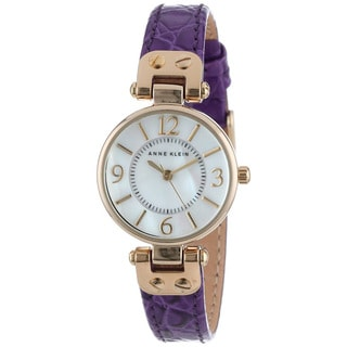 Anne Klein Women's AK-1394MPPR Purple Leather Strap Watch