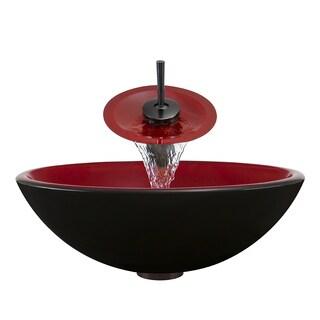 Polaris Sinks P606 Oil Rubbed Bronze Bathroom Ensemble (Vessel Sink, Waterfall Faucet, Pop-up Drain)