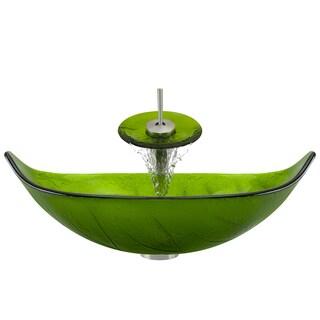 Polaris Sinks P906 Brushed Nickel Bathroom Ensemble (Vessel Sink, Waterfall Faucet, Pop-up Drain)