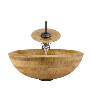 The Polaris Sinks P098 Oil Rubbed Bronze Bathroom Ensemble (Vessel Sink, Waterfall Faucet, Pop-up Drain)