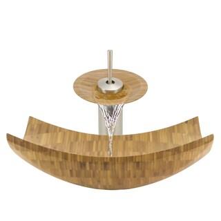 The Polaris Sinks P298 Brushed Nickel Bathroom Ensemble (Vessel Sink, Waterfall Faucet, Pop-up Drain)