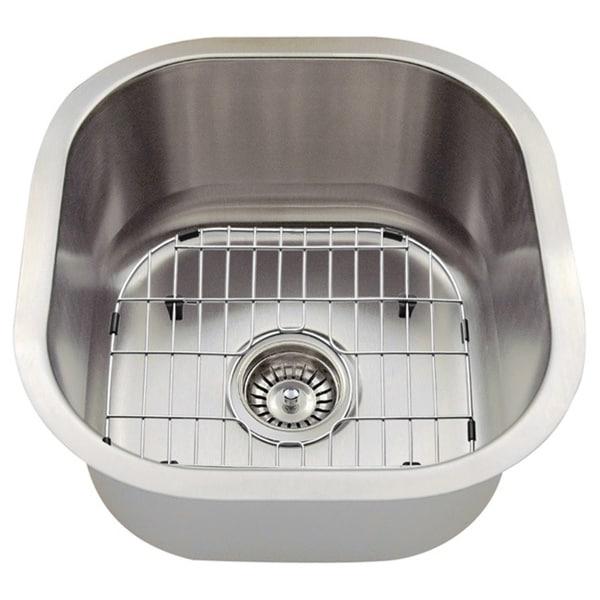The Polaris Sinks P6171 16-gauge Kitchen Ensemble (Sink, Standard Strainer, Sink Grid, Cutting Board)