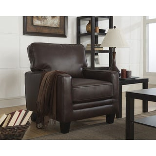 Serta Monaco Bonded Leather Track Arm Biscuit Brown Accent Chair