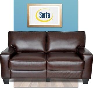 Serta RTA Monaco Collection 60-inch Brown Leather Sofa