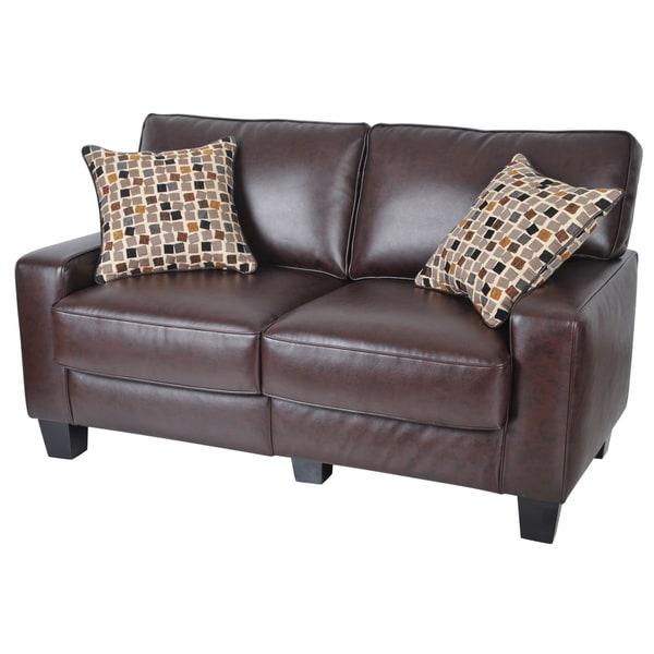 Serta Rta Monaco Collection 60 Inch Brown Leather Sofa