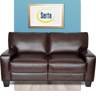 Serta Monaco Biscuit Brown Bonded Leather Love Seat