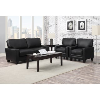 Serta Santa Rosa Black Bonded Leather Love Seat