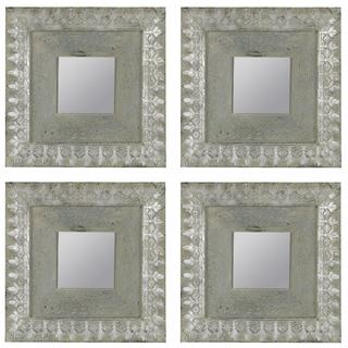 Linell Aged Blue and Silver Square Mirrors (Set of 4)
