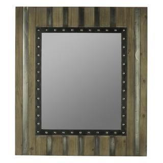 Christof Light Brown Wood and Silver Panel Overlay Mirror