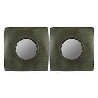 Hans Dark Green/ Brown Crackle Square Mirrors (Set of 2)