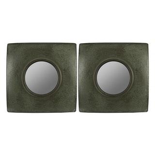 Hans Dark Green/ Brown Crackle Square Mirrors (Set of 2)
