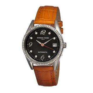 Giorgio Fedon 1919 Women's Mechanical Lady I Black Leather Orange Analog Watch