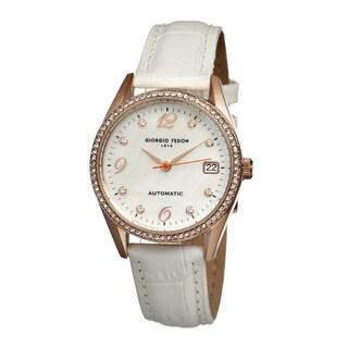 Giorgio Fedon 1919 Women's Mechanical Lady I White Leather White Analog Watch