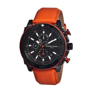 Giorgio Fedon 1919 Men's Speed Timer Iii Black Leather Orange Analog Watch