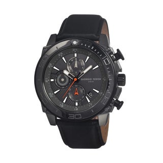 Giorgio Fedon 1919 Men's Speed Timer Iii Black Leather Black Analog Watch
