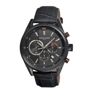 Giorgio Fedon 1919 Men's Vintage Vi Black Leather Charcoal Analog Watch
