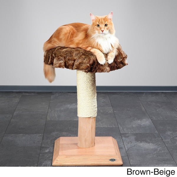 Trixie Etosha Natural Wood 28-inch Plush Cat Tree
