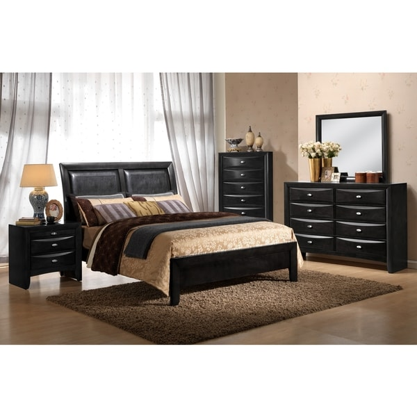 Black/ Black PVC Celia Queen Bed
