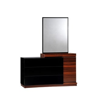 Black High Gloss and Zebra Walnut Dresser