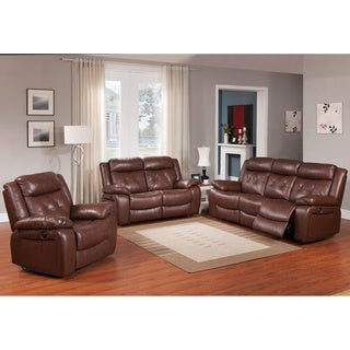 Rivallo Brown 3-piece Top Grain Leather Power Reclining Sofa Set