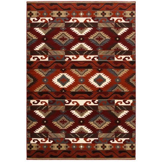 Machine-made Southwestern Orange Area Rug (7'9 x 9'9)