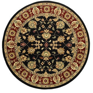 Machine-made Traditional Black/ Red Area Round (6'2 x 6'2)