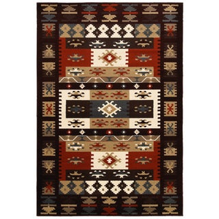 Machine-made Southwestern Burgundy Area Rug (7'9 x 9'9)