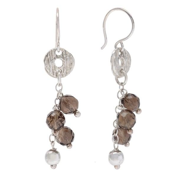 Sterling Silver Smokey Quartz Dangle Earrings 13058577