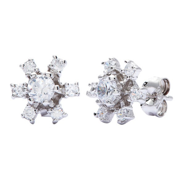 Sterling Silver Flower Petal Cubic Zirconia Earrings