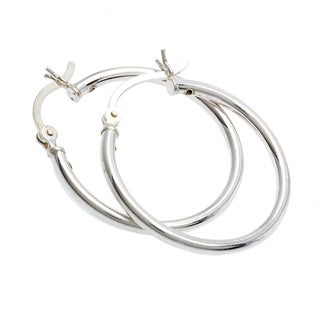 Sterling Silver 1-inch Hoop Hook Earrings