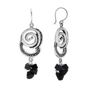 Sterling Silver and Navy Goldstone Swirl Earrings