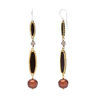 Brass Pearl and Quartz Alexis Hook Earrings