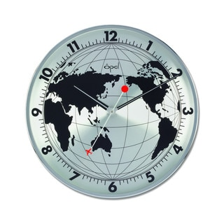 Opa World Map Stainless Steel Round Clock