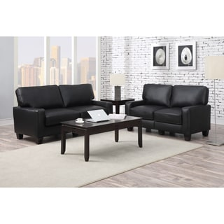 Serta Santa Rosa Collection Smooth Black Bonded Leather Eco-friendly Sofa