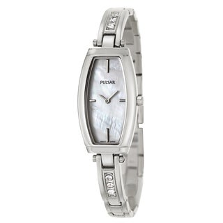 Pulsar Women's 'Easy Style' Stainless Steel Mother of Pearl and Crystal Quartz Watch
