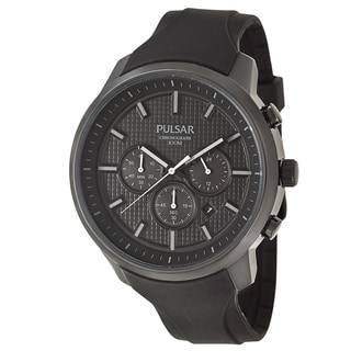 Pulsar Men's 'On The Go' Black Ion-plated Stainless Steel Chronograph Military Time Watch