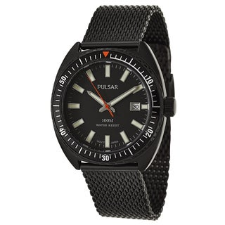 Pulsar Men's 'On The Go' Black Ion-plated Stainless Steel Quartz Watch