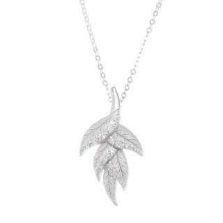 La Preciosa Sterling Silver Cubic Zirconia Matte Leaf Pendant Necklace