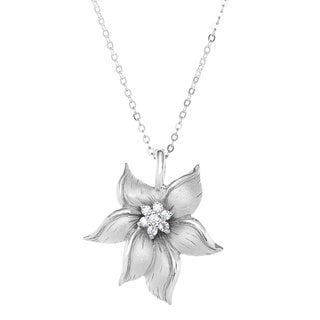 La Preciosa Sterling Silver Cubc Zirconia Matte Flower Pendant Necklace
