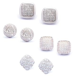 La Preciosa Sterling Silver Micro Pave Cubic Zirconia Stud Earrings (Set of 4)