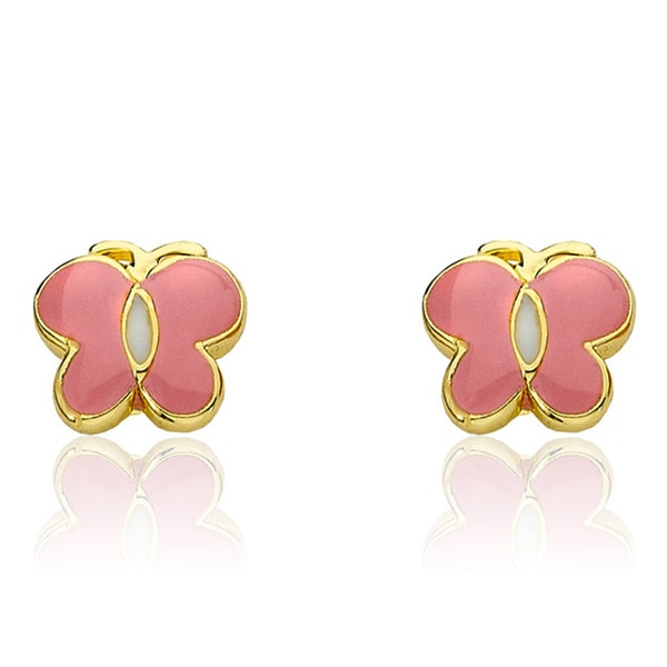 Little Miss Twin Stars 14k Goldplated Pink and White Enamel Center Stripe Butterfly Earrings