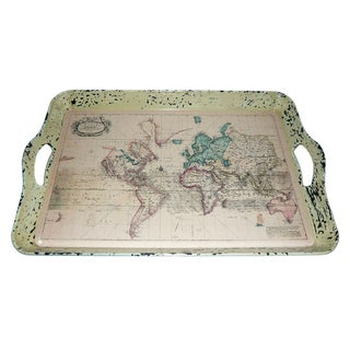 Set of 2 Vintage Map Serving Trays (Chine)